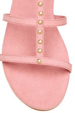 Studded sandals - Light pink - Ladies | H&M CN 4